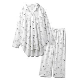 【セットアップ】DOGモチーフシャツ&ロングパンツSET (OWHT)