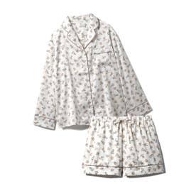 【セットアップ】リトルローズサテンシャツ&ショートパンツSET (BEG)