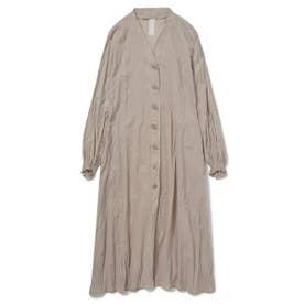 洗いざらしノーカラーシャツドレス (BEG)