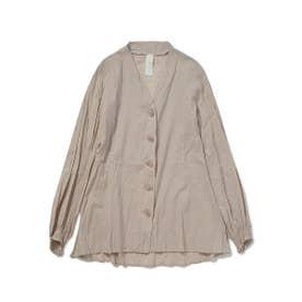 洗いざらしノーカラーシャツ (BEG)