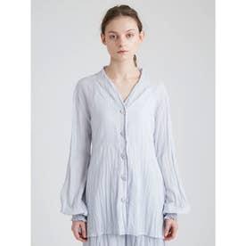 洗いざらしノーカラーシャツ (BLU)