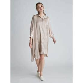 サテンラインシャツドレス (BEG)