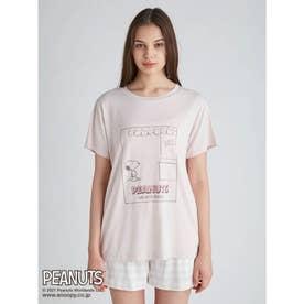 【PEANUTS】ワンポイントTシャツ (PNK)