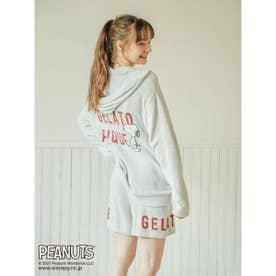 【PEANUTS】ロゴジャガードパーカ (BLU)