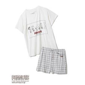 【PEANUTS】ワンポイントTシャツ&ショートパンツSET (OWHT)
