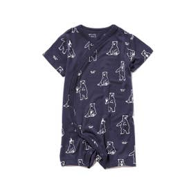 【シロクマフェア】シロクマモチーフ冷感 baby ロンパース (NVY)