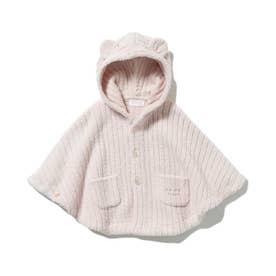 【BABY】'マシュマロモコ'リブ baby ポンチョ (PNK)