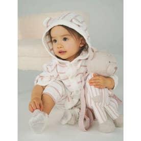 【BABY】'スムーズィー'ベア刺繍ボーダー baby ポンチョ (PNK)