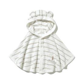 【BABY】'スムーズィー'ベア刺繍ボーダー baby ポンチョ (MNT)