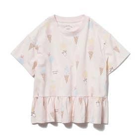 【KIDS】アイスクリームアニマルモチーフ kids フリルTシャツ (PNK)