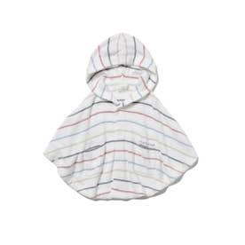 【BABY】'スムーズィー'カラフルピンボーダー baby ポンチョ (OWHT)