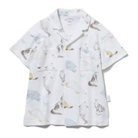 【KIDS】【旭山動物園】アニマルモチーフ kids シャツ (OWHT)