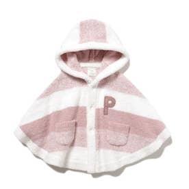 【BABY】 'ベビモコ'メランジボーダー baby ポンチョ (PNK)