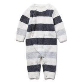【BABY】パウダートリムボーダー baby ロンパース (NVY)