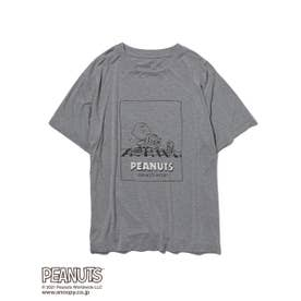 【PEANUTS】 HOMME ワンポイントTシャツ (GRY)