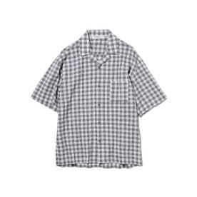 【GELATO PIQUE HOMME】オーガニックコットンギンガムチェックシャツ (GRY)