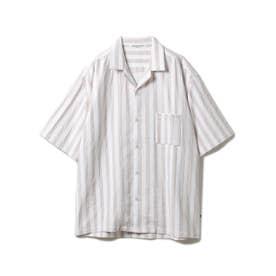 【GELATO PIQUE HOMME】 オーガニックコットンストライプシャツ (PNK)