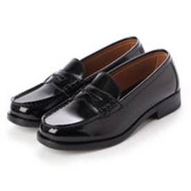 レディース 学生靴 スクール ローファ 軽量 通勤 通学 撥水加工 軽量 防滑 防臭 衝撃緩衝性 履き心地 (ブラック)