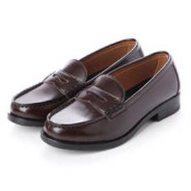 レディース 学生靴 スクール ローファ 軽量 通勤 通学 撥水加工 軽量 防滑 防臭 衝撃緩衝性 履き心地 (ブラウン)