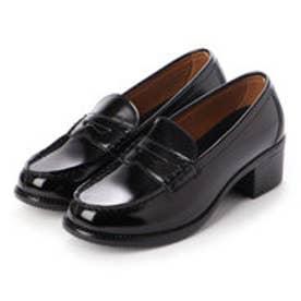 レディース 学生靴 ヒールアップ(+5cm) スクール ローファ 軽量 通勤 通学 撥水加工 軽量 防滑 防臭 衝撃緩衝性 履き心地 (ブラック)