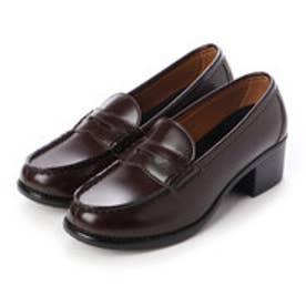 レディース 学生靴 ヒールアップ(+5cm) スクール ローファ 軽量 通勤 通学 撥水加工 軽量 防滑 防臭 衝撃緩衝性 履き心地 (ブラウン)