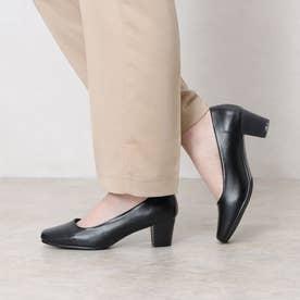 走れるパンプス オフィスシューズ 歩きやすい 疲れにくい 靴 3D 中敷き 衝撃吸収 ヒール 5cm フォーマル (ブラック)