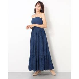 カット刺繍ロングワンピース (ブルー)