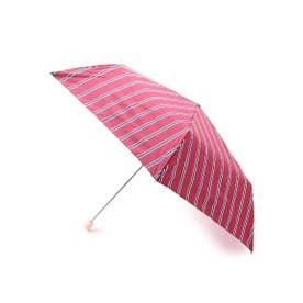 Wpc.ストライプスリム折り畳み傘 (ワインレッド)