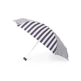 because ボールドストライプ晴雨兼用折り畳み傘 (ネイビー(093))