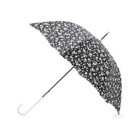 フラワーシルエット柄長傘 (ブラック)