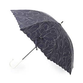 チューリップ刺しゅう晴雨兼用長傘 (ネイビー)