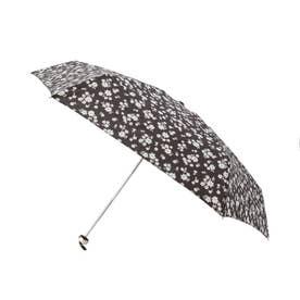 becauseフラワーシルエットミニ折りたたみ傘(晴雨兼用) (ブラック)