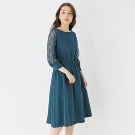 【S-LLまで】チュールスリーブドレス (ダークグリーン)