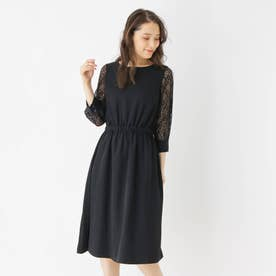 【S-LLまで】チュールスリーブドレス (ブラック)