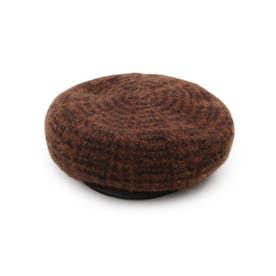 チェック柄ベレー帽 (ブラック)