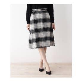 ビットベルト付きAラインスカート (ブラック(219))