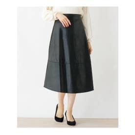 FURRY RATE デザイン切替フェイクレザースカート (ブラック)