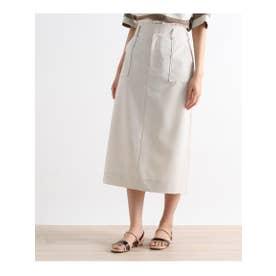 【S-LLまで】防しわ/接触冷感/UV/洗える麻調スカート (ライトグレー)
