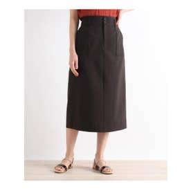 【S-LLまで】防しわ/接触冷感/UV/洗える麻調スカート (ディープブラウン)