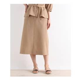 【S-LLまで】防しわ/接触冷感/UV/洗える麻調スカート (ベージュ)