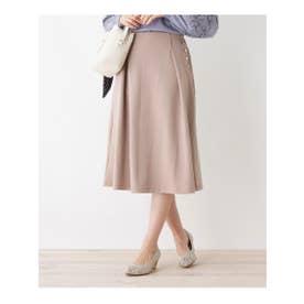 【S-LLまで】サイドボタンAラインスカート (タバコブラウン)
