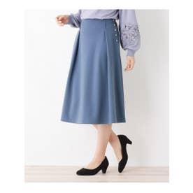 【S-LLまで】サイドボタンAラインスカート (ライトブルー)
