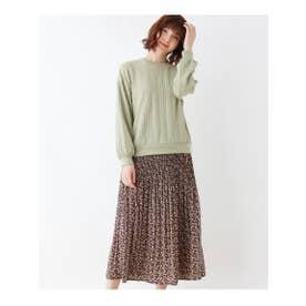 【LLあり】ふくれケーブルプルオーバー+フラワープリーツスカートセット (ライトグリーン)