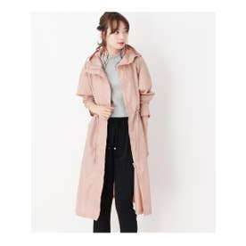 【WEB限定】ウエストギャザーレインコート (ピンク)