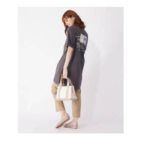 【S-LL】バックプリントチュニックロングTシャツ (ガンメタリック)