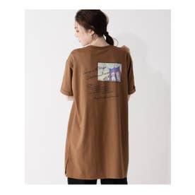 【S-LL】バックプリントチュニックロングTシャツ (ブラウン)