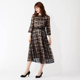 ウエストモチーフチュールレースドレス (ブラック)