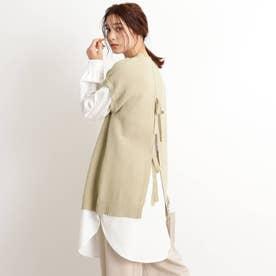 【S-LL】布帛ドッキングバックリボンワンピース (ライトグリーン)