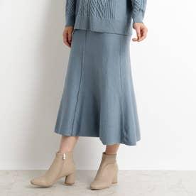 【S-LL】洗える/抗菌マーメイド風ニットスカート (ライトブルー)