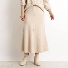 【S-LL】洗える/抗菌マーメイド風ニットスカート (ナチュラル)